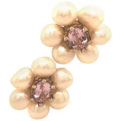 Judith Ripka Pearl Gold and Diamond Earrings