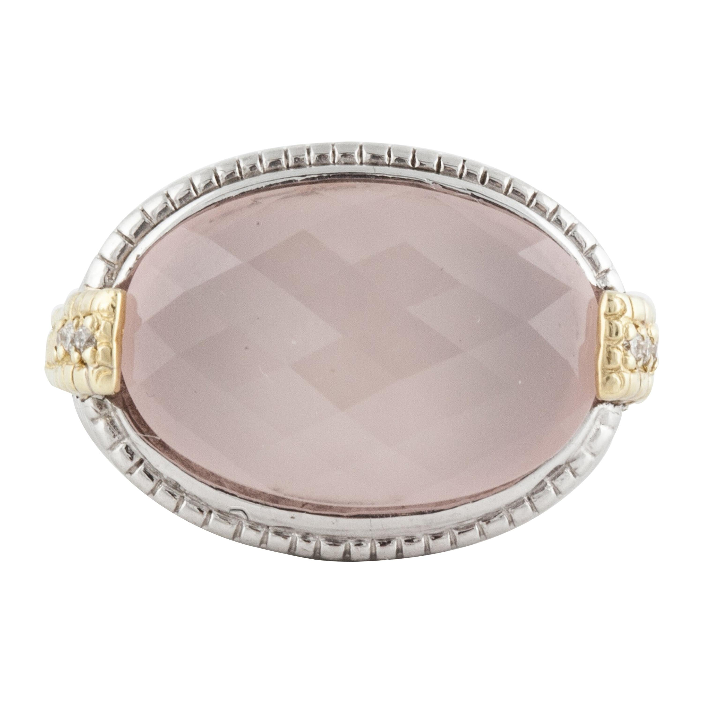 Judith Ripka Sterling Silver and Gold Pink Quartz Diamond Ring
