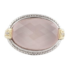 Judith Ripka Pink Quartz Diamond Ring
