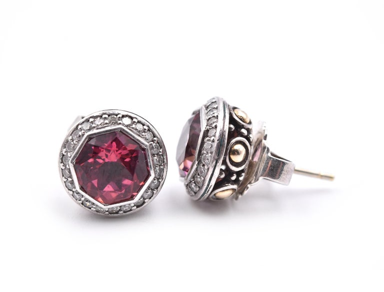 Round Cut John Hardy Pink Tourmaline and Diamond Batu Earrings For Sale