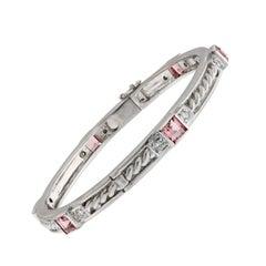 Judith Ripka Pink Tourmaline Diamond Bangle Gold Bracelet