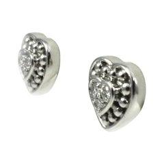 Judith Ripka Platinum and 0.36 Carat Diamond Heart Earrings