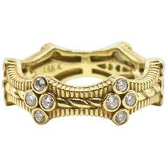 Judith Ripka Romance 18 Karat Yellow Gold and Diamond Band Ring