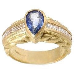 Judith Ripka Sapphire Diamond Yellow Gold Ring