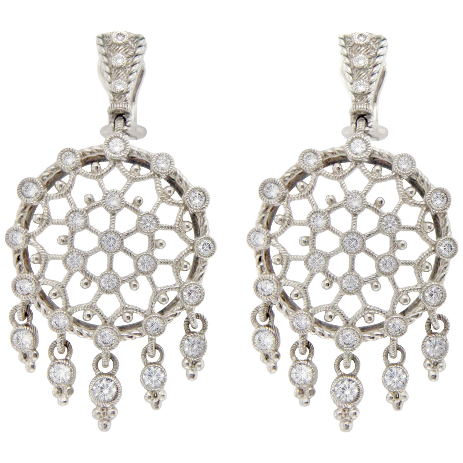 Judith Ripka Silver 925 Sterling Large Round Diamonique Earrings