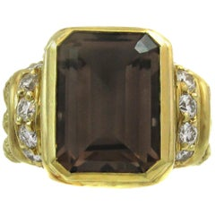 Judith Ripka Smoky Quartz Diamond Gold Ring