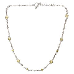 Judith Ripka Sterling Silver/18K Gold Chain Necklace W/ Faceted Canary Crystals