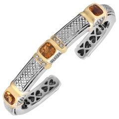 Judith Ripka Sterling Silver and 18K Gold Diamond Bangle Bracelet with Citrine