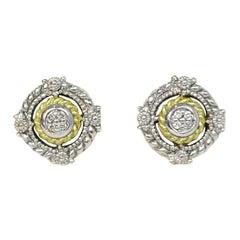 Judith Ripka Sterling Silver/Gold Stud Earrings W/ Diamonds