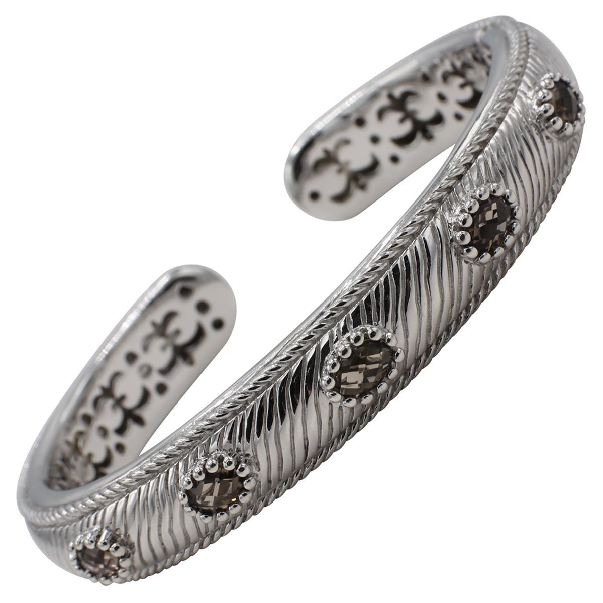 Judith Ripka Sterling Silver Smoky Quartz Bangle Cuff Bracelet