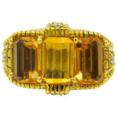 Judith Ripka Three-Stone Citrine Diamond Textured 18k Yellow Gold Cocktail Ring