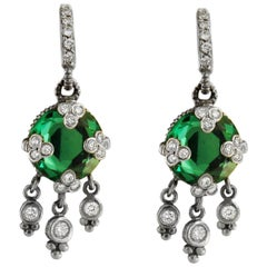 Judith Ripka Tourmaline in 14 Karat White Gold Earrings with Diamonds