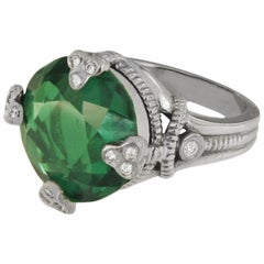 Judith Ripka Tourmaline in 14 Karat White Gold Ring with Diamonds