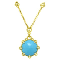 Judith Ripka Turquoise Necklace Etruscan Revival 18K Yellow Gold Links Designer