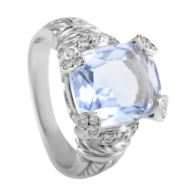 Judith Ripka Women's 18 Karat White Gold Diamond and Blue Quartz Ring