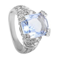 Judith Ripka Women's 18 Karat White Gold Diamond and Blue Quartz Ring