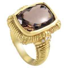 Judith Ripka Yellow Gold Diamond and Smokey Topaz Ring