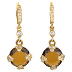 Judith Ripka Yellow Gold Diamond and Smoky Quartz Earrings
