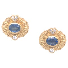 Judith Ripka Yellow Gold Sapphire and Diamond Earrings