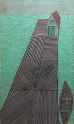 Modernist Oil Painting Abstract Dock with Boat Judith Shahn