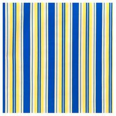 JudScott New York Hand-Printed Ultramarine Blue, Yellow Striped Wallpaper, 1970s