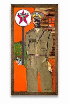 """The Texaco Man"", African-American Artist, Acrylic, Collage, Historical Scene"