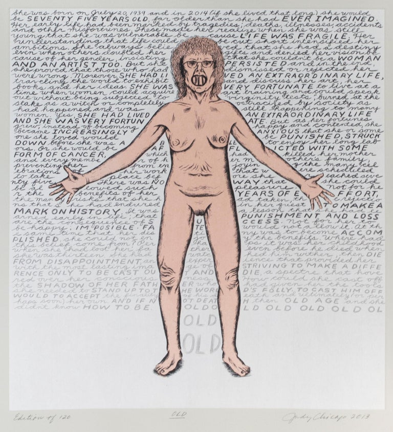 In the present work, Judy Chicago turns the subject of the female nude on its head: from the Renaissance though the twentieth century in Western art, the female nude was a favorite subject within the male-dominated field of art making. In such
