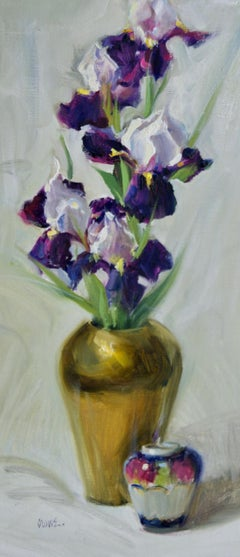 Irises and Two Vases, oil painting ,American Impressionism, S.W. Art