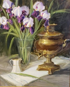 Samovar and Iris,oil painting ,American Impressionism ,SW Art Magazine 11/20/20
