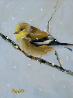 Snow Flurries, oil painting , Bird Painting ,Impressionism ,SW Art Magazine