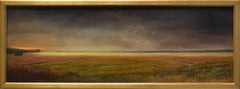 Approaching Storm (Small Landscape Oil Painting of Nova Scotia, Gold Frame)