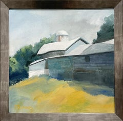 Blue Barn Summer (Contemporary Rural Landscape Painting, Oil on Canvas)
