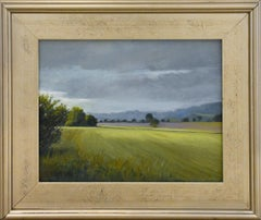 Farm Field, Spring (En Plein Air Oil Painting of a Sunlit Country Landscape)