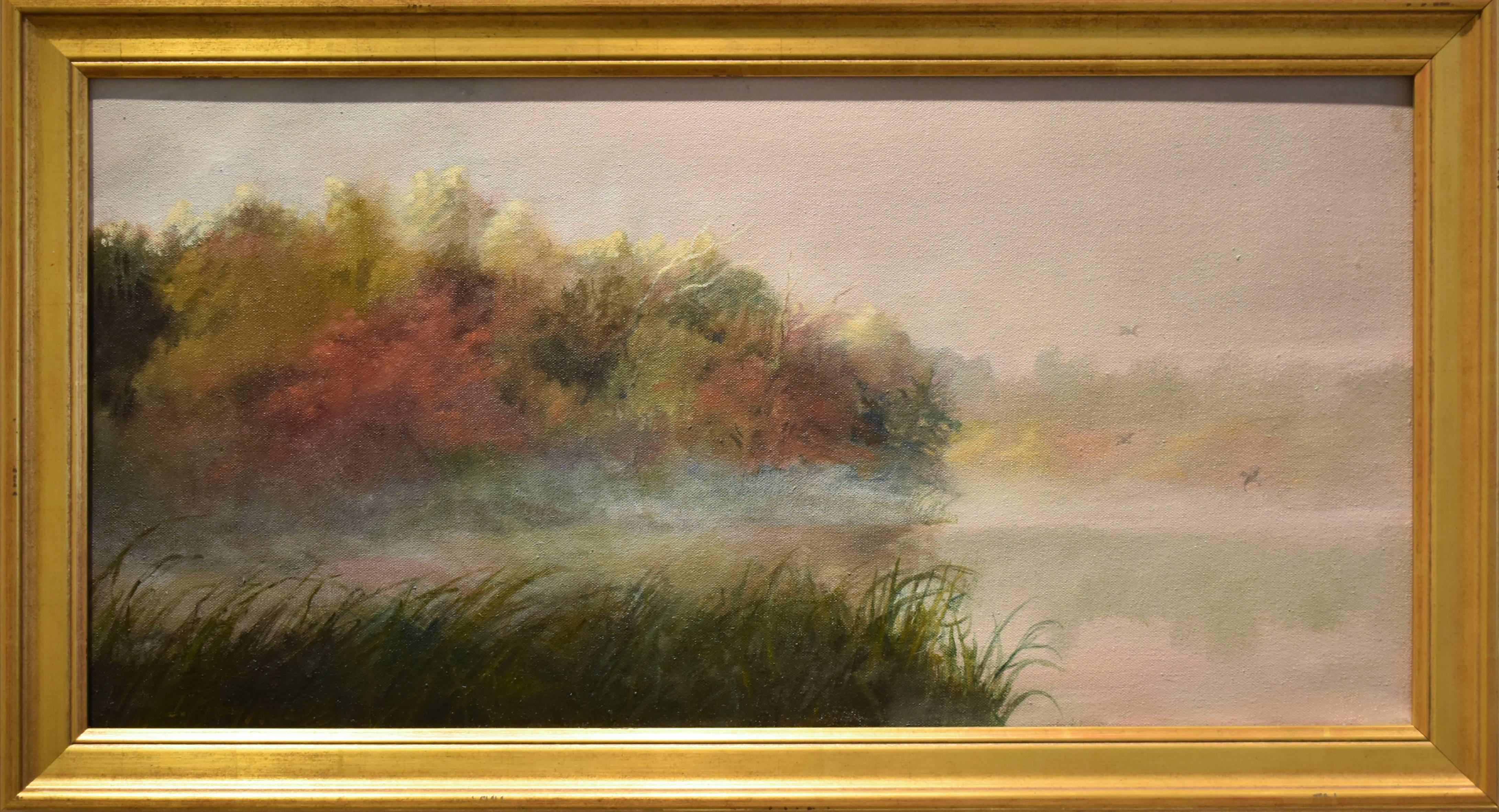 Fog Lifting Small Landscape Oil Painting Of Olana Gold Frame