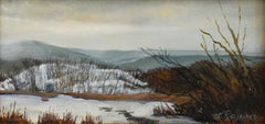 Last Snow, Iona Marsh (Landscape Painting of Country Winter Scene, Gold Frame)