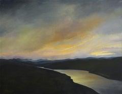 North Sky, Hudson River (Framed Landscape Painting on Canvas of a Winter Sunset)