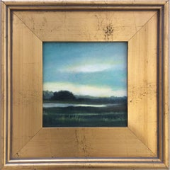 North Sky (Small Landscape Painting on Canvas in Gold Frame)