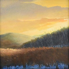 Resting Field in Winter (En Plein Air Landscape Painting on Canvas of a Sunset)