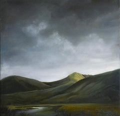 Scotland (Dramatic Landscape of Sunlit Hills Under a Clouded Sky)