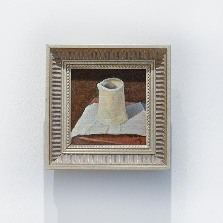 Realistic, Dutch style still life of a white ceramic pitcher on a white and maroon tablecloth