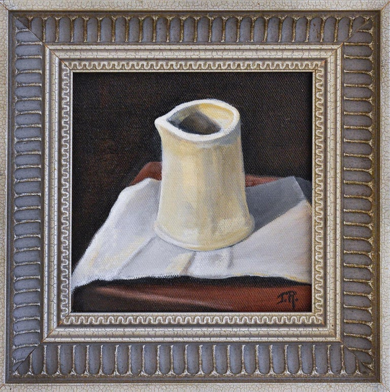 Judy Reynolds Still-Life Painting - Study in White (Still Life of Ceramic White Pitcher on Maroon Tabletop, Framed)