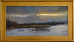 Tivoli Marsh (Framed Hudson River School Style Painting of a Winter Landscape)