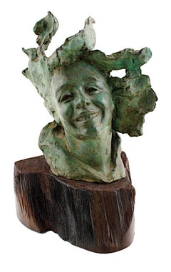 """Sea Wind,"" Bronze Portrait Sculpture signed by Judye Frankowiak"