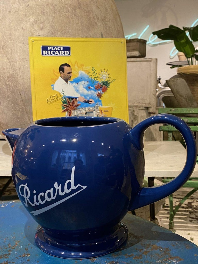 Nostalgic French Ricard pitcher. Great shape, and would look super placed in a retro setting, summer cottage, bar, even as a vase etc.