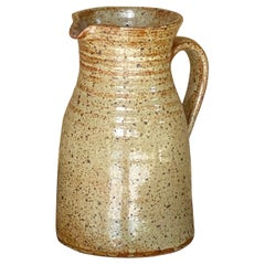 Jug in Stoneware, Beautiful Old Patina, France 1960, Beige and Grey Color