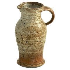 Jug in Stoneware Ceramic, Grey Color, France 1960, Old Patina, Signed