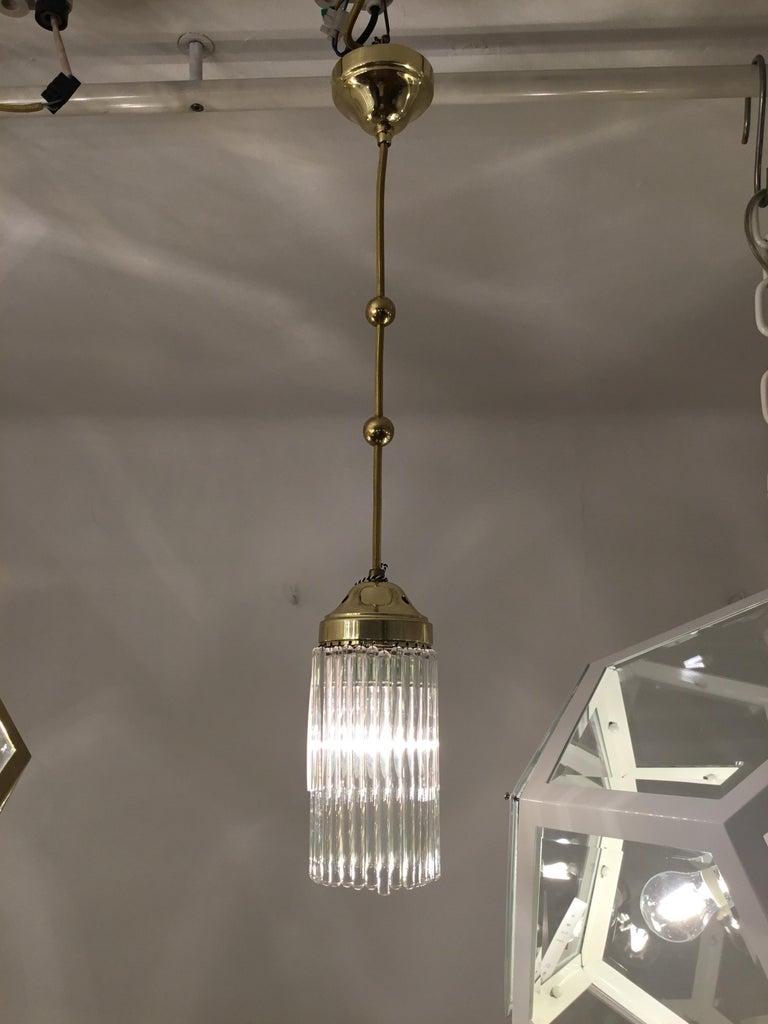 Hand-Crafted Jugendstil Art Deco Brass and Glass Single Pendant Chandelier Re-Edition For Sale