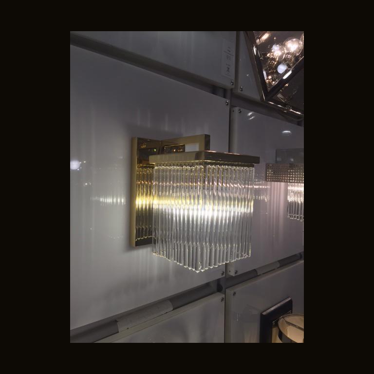 Austrian Jugendstil Brass Wall Light with glass tubes For Sale