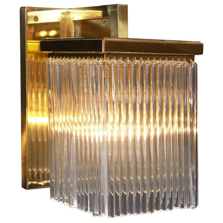 Jugendstil Brass Wall Light with glass tubes For Sale