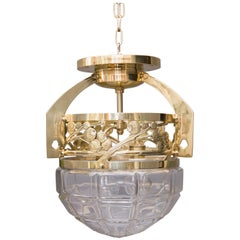 Jugendstil Ceiling Lamp with Cut Glass, circa 1908